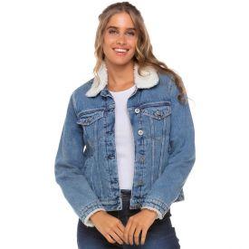 Jaqueta Jeans com Pelo Interno e Gola Conthato Blue