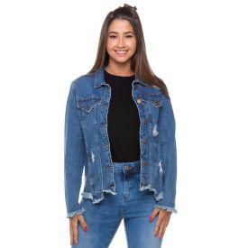 Jaqueta Jeans com Termo Bolsos + Rasgos Contatho Blue