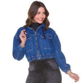 Jaqueta Jeans Cropped com Capuz Conthato Blue