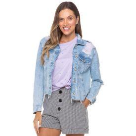 Jaqueta Jeans Cropped com Rasgos Boby Blues Light Blue