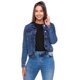 Jaqueta Jeans Estonada com Elastano Contatho Blue