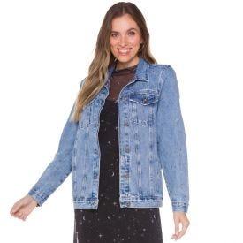 Jaqueta Jeans Feminina com Strass Boby Blues Blue