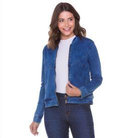 Jaqueta Jeans Moletom com Recortes Conthato Blue
