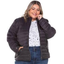 Jaqueta Plus Size Nylon com Ribana Patricia Foster Mais Preto