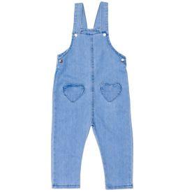 Jardineira 1 a 3 anos Jeans + Bolsos Corações Yoyo Kids Azul