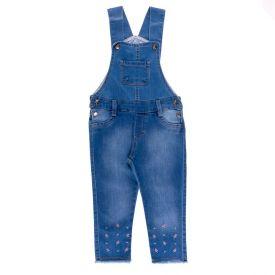 Jardineira de 1 a 3 Anos Jeans Florzinhas Yoyo Kids Azul