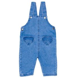 Jardineira de Bebê Menina Jeans Bolsos Corações Yoyo Baby Azul