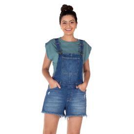 Jardineira Jeans com Puídos Patrícia Foster Blue