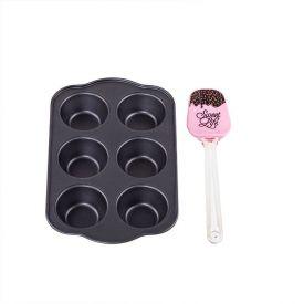 Jogo De Forma Para Cupcake Com Espátula Solecasa 2 Peças - Rosa