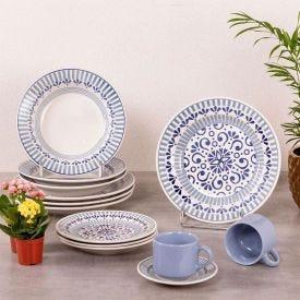 Aparelho De Jantar Oxford Donna Cerâmica 20 Peças - Azul Claro