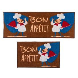 Jogo De Tapetes Para Cozinha 2 Peças Napoli - Bon Appetit Marrom