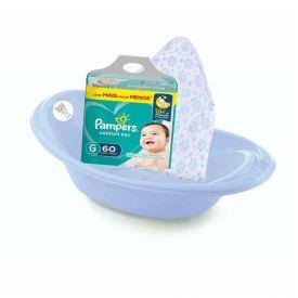 Kit Bebê 3 Pçs Fralda Pampers G + Toalha De Banho + Banheira Azul - Exclusivo Online
