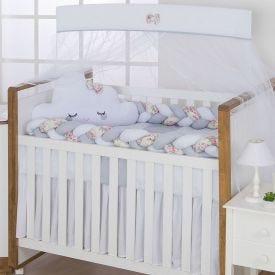 Kit De Berço 9 Peças Light Yoyo Baby - Branco Rosa Trança