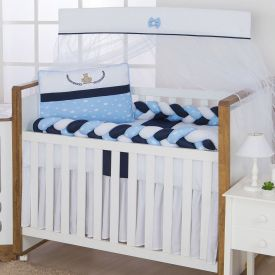 Kit De Berço 9 Peças Light Yoyo Baby - Branco Azul Trança