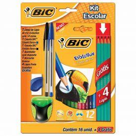 Kit Escolar 16 Peças Com 4 Lápis Evolution Bic - 930837/742