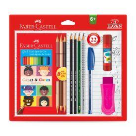 Kit Escolar Prático 18 Cores 22 Peças Faber Castell - KIT/HAVAN22