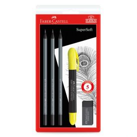 Kit Escolar Supersoft 5 Peças Faber Castell - KIT/HAVAN19