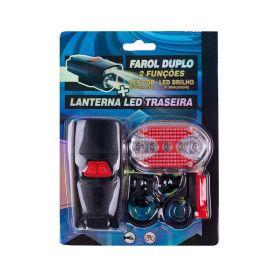 Kit Farol Duplo Com Lanterna Led Para Bike Meghazine - LB229