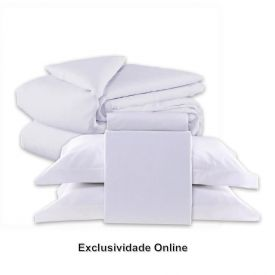 Kit Jogo De Cama + Edredom Queen 5 Peças Buona Fortuna Percal 200 Fios Branco - Exclusividade Online