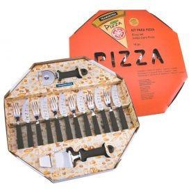 Kit para Pizza Preto 14 peças - Tramontina - Preto