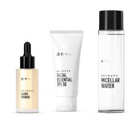 Kit Primer Glow + Protetor + Água Micellar Beyoung - Diversos