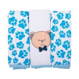 Kit Toalha de Boca Bichinhos 03 Peças Bambi - Ursinho Azul