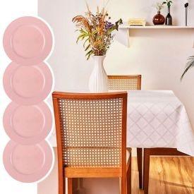 Kit Toalha De Mesa Quadrada+ 4 Sousplat Basic Rose - Exclusividade Online