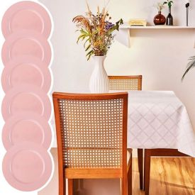 Kit Toalha De Mesa Retangular+ 6 Sousplat Basic Rose - Exclusividade Online