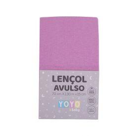 Lençol Avulso Com Elástico Para Berço Malha Yoyo Baby - Rosa