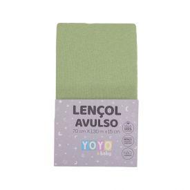 Lençol Avulso Com Elástico Para Berço Malha Yoyo Baby - Verde maça