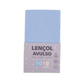 Lençol Avulso Com Elástico Para Berço Malha Yoyo Baby - Azul bebe