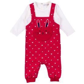 Macacão de Bebê Coelho Bordado Alakazoo Vermelho