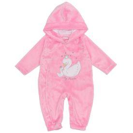 Macacão de Bebê de Pelinho Cisne com Capuz Yoyo Baby Rose