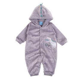 Macacão de Bebê em Pelinho Dino Roar Yoyo Baby Cinza