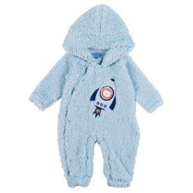 Macacão de Bebê Pelinho Bordado Foguete Yoyo Baby Azul