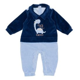 Macacão de Bebê Plush Dino Yoyo Baby Azul