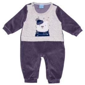 Macacão de Bebê Plush Ursinho Frontal Yoyo Baby Chumbo