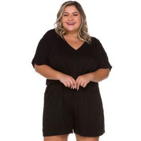 Macaquinho Plus Size de Viscose Patricia Foster Mais Preto