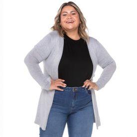 Max Cardigan Plus Size Tricot Analola Mescla Cinza