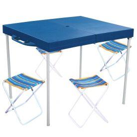 Mesa Prática com 4 Banquetas Mor 3403 - Azul