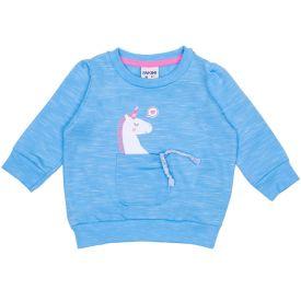 Moletom de Bebê Menina Jet Unicórnio Interativo Fakini Azul Ceu