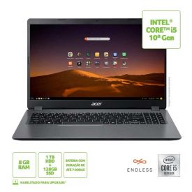 """Notebook Acer Aspire 3 15,6"""" I5/8Gb/1Tb+128Ssd/Endless - Cinza"""