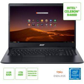 """Notebook Aspire 3 Celeron/4Gb/1Tb/Endless 15,6"""" Acer - Preto"""