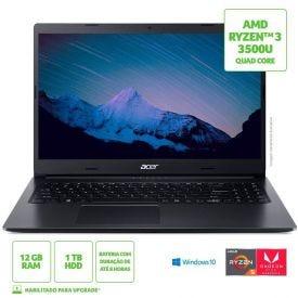 "Notebook Aspire 3 Ryzen5/1Tb/12Gb/Win10 15,6"" Acer - Preto"