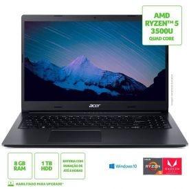 "Notebook Aspire 3 Ryzen5/1Tb/8Gb/Win10 15,6"" Acer - Preto"