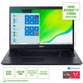 "Notebook Aspire 3 Ryzen7/8Gb/256Gb/Win10 15,6"" Acer - Preto"