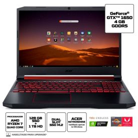 "Notebook Aspire Nitro 5 Ryzen7/8Gb/1Tb+128Ssd/Gtx1650 15,6"" Acer - Preto"