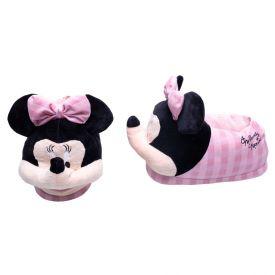 Pantufa Adulto Minnie Mouse Xadrez Disney - ROSA/BRANCO 39/40