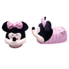 Pantufa Infantil Xadrez Minnie Disney - ROSA/BRANCO 31-32