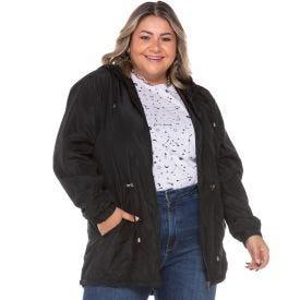 Parka Plus Size Corta Vento + Capuz Patricia Foster Mais Preto